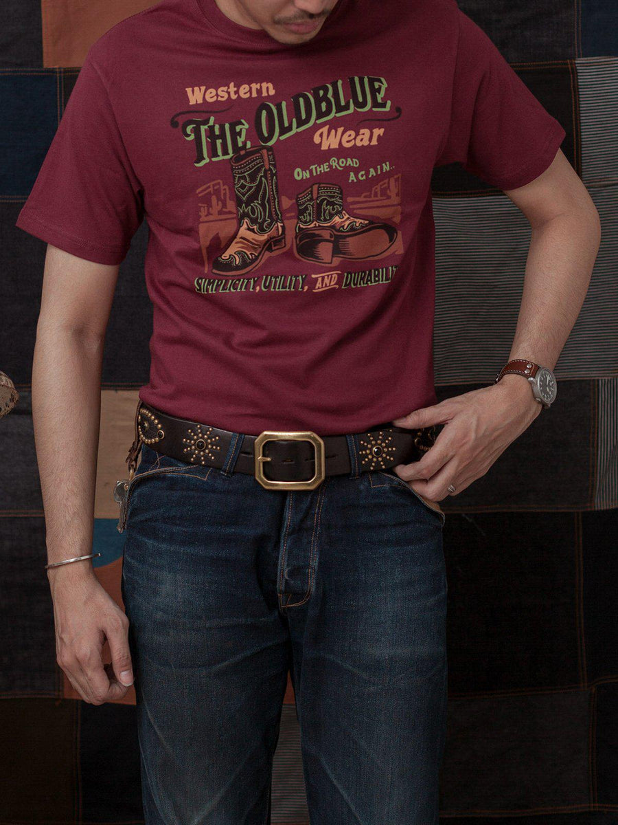 Oldblue Co. Tee The Western Wear Maroon - MORE by Morello Indonesia