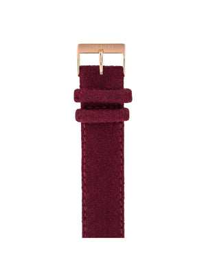 Briston Leather Flannel Strap Burgundy Rose Gold 20mm - MORE by Morello Indonesia