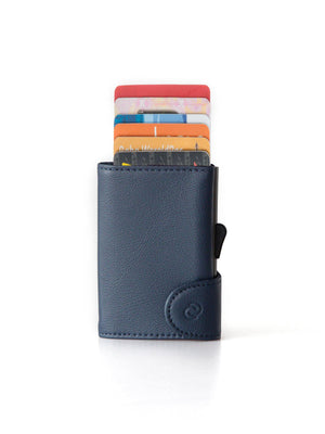 C-Secure Italian Leather RFID Wallet With Coin Pouch Blue