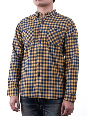 Qutn Button Down Double Pocket LS Yellow Blue Minicheck Flannel - MORE by Morello Indonesia