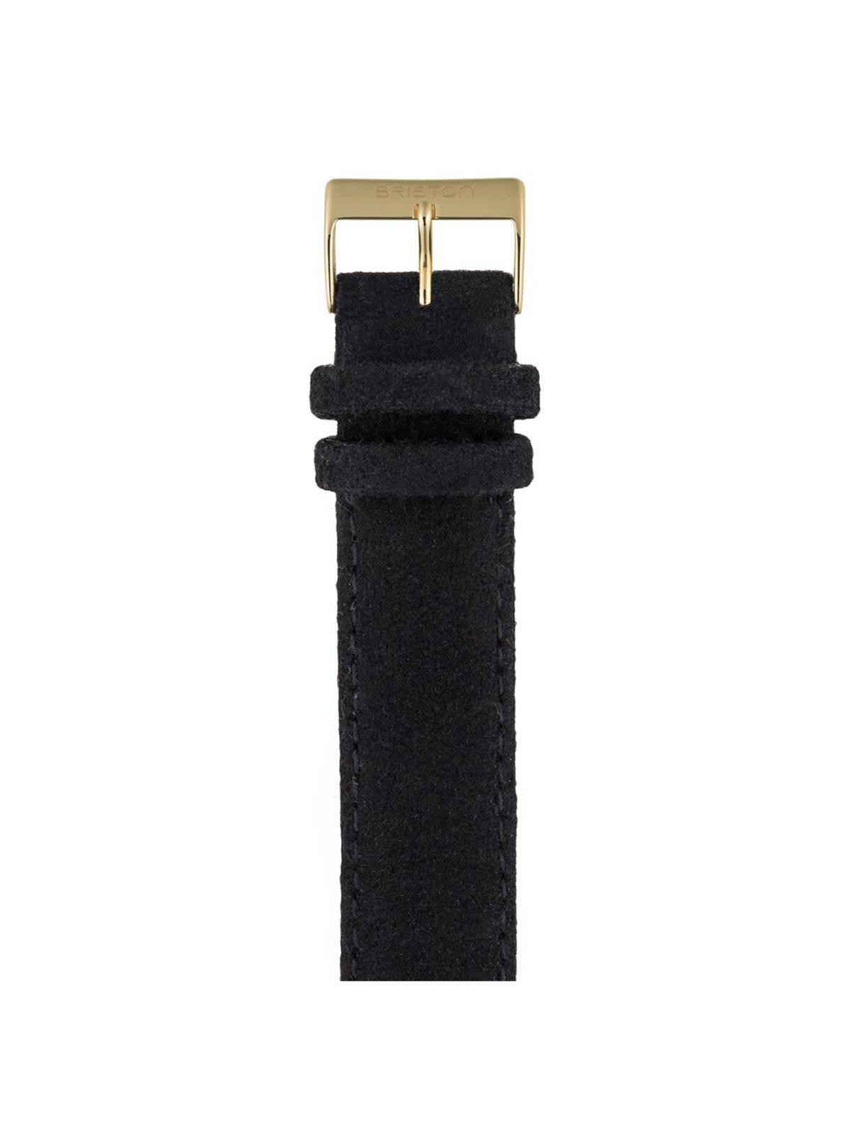 Briston Leather Flannel Strap Black Yellow Gold 20mm - MORE by Morello Indonesia