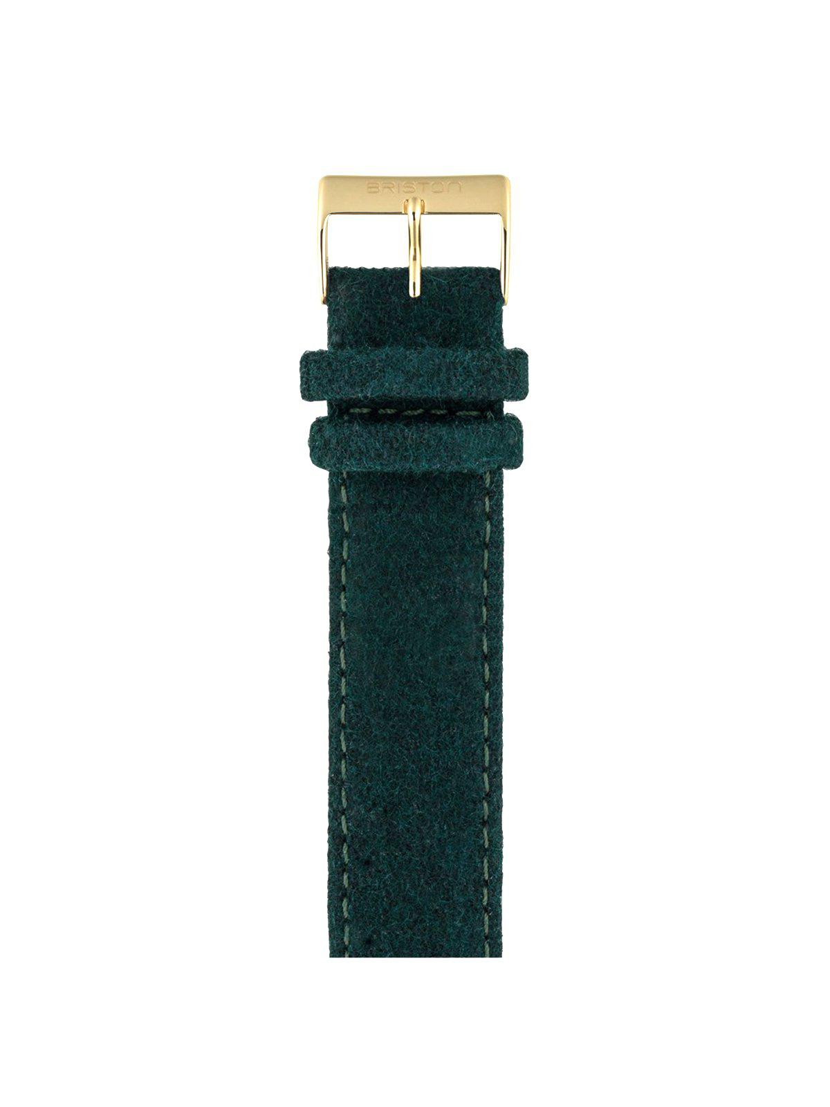 Briston Leather Flannel Strap British Green Yellow Gold 20mm - MORE by Morello Indonesia