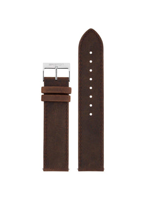 Briston 2-Part Vintage Leather Strap Chocolate Polished Steel 20mm - MORE by Morello Indonesia