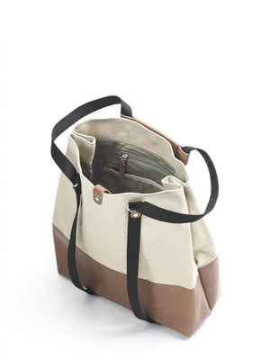 Qwstion Shopper Brown Leather Canvas