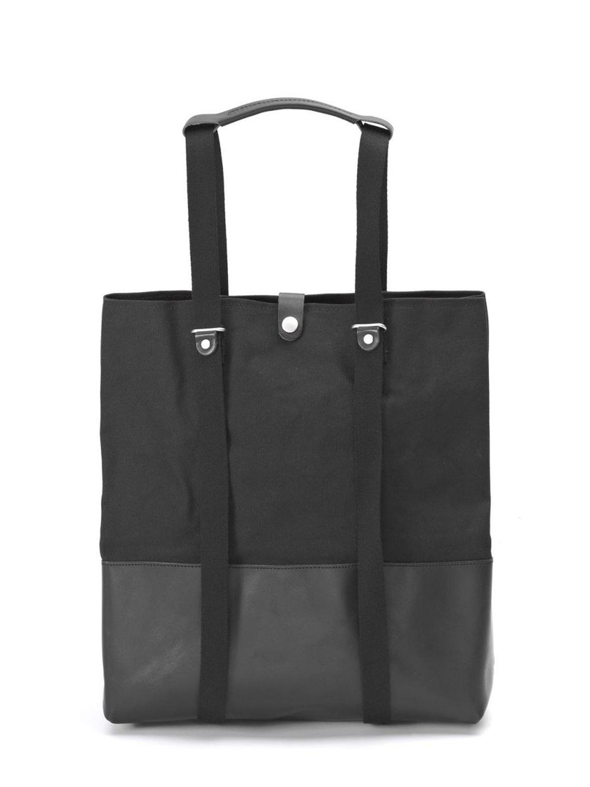 Qwstion Shopper Black Leather Canvas - MORE by Morello Indonesia