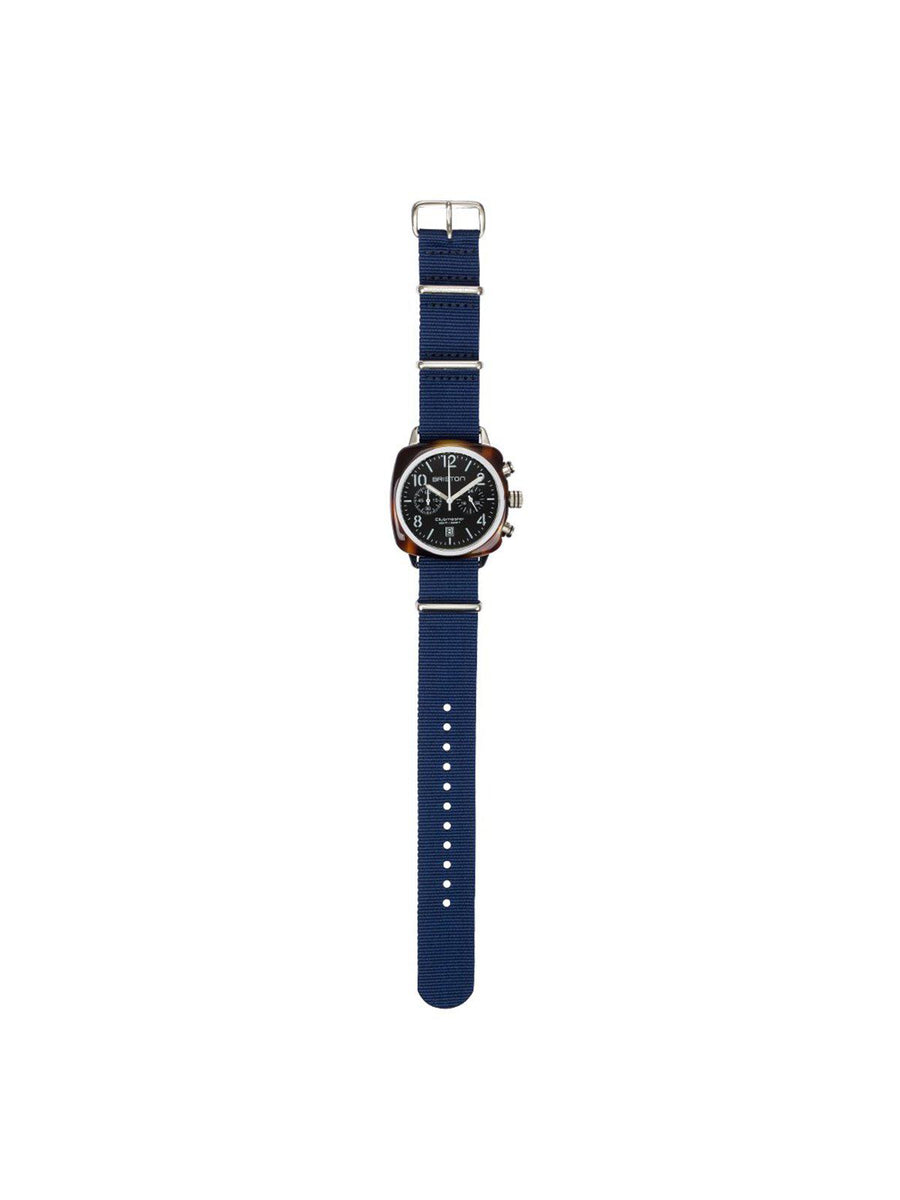 Briston Nato Strap Navy Blue Polished Steel 20mm - MORE by Morello - Indonesia