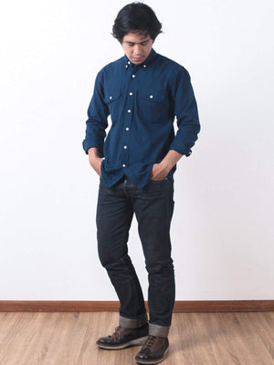 Qutn Button Down LS DP Navy Flannel Shirt-Shirts-Qutn-MORE by Morello