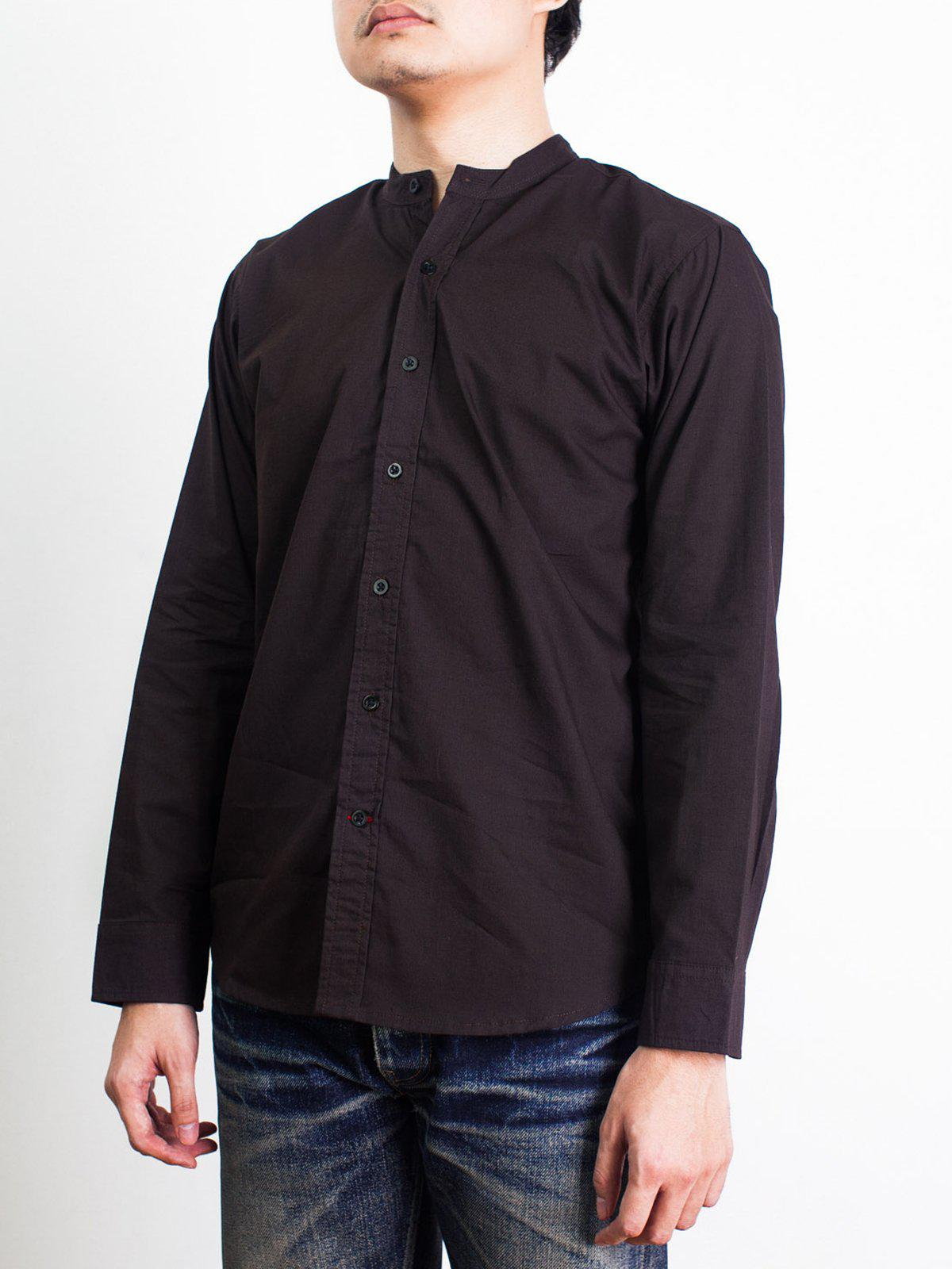 Qutn Band Collar LS Brown Poplin - MORE by Morello Indonesia