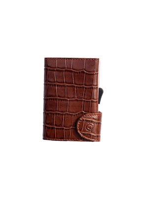 C-Secure Croco Leather RFID Wallet Brown - MORE by Morello - Indonesia