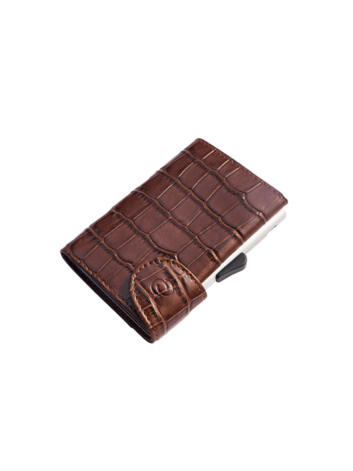 C-Secure Croco Leather RFID Wallet Brown - MORE by Morello Indonesia