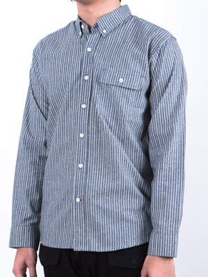 Qutn Work Shirt II Grey Striped Chambray - MORE by Morello