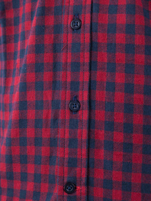 Qutn Button Down Double Pocket LS Red Blue Minicheck Flannel - MORE by Morello Indonesia