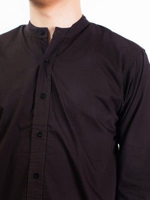 Qutn Band Collar LS Brown Poplin - MORE by Morello - Indonesia