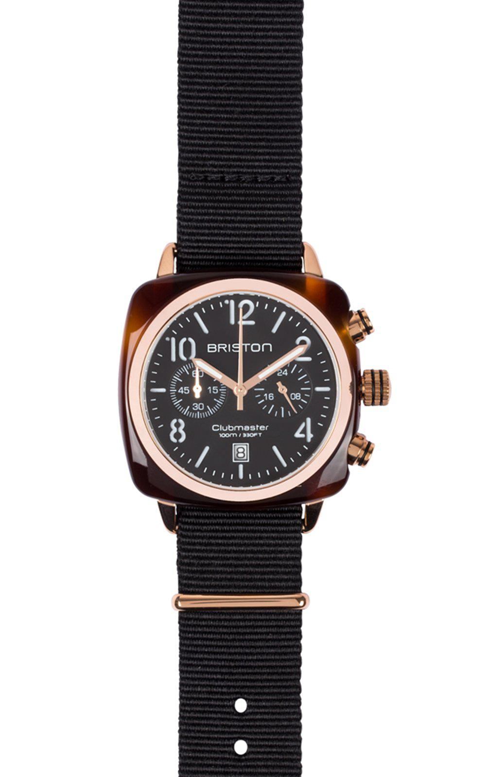 Briston Clubmaster Classic Acetate Chronograph Black Dial Rose Gold 40mm - MORE by Morello Indonesia