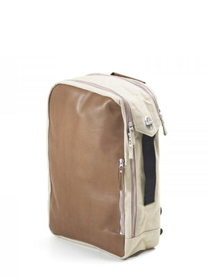 Qwstion Backpack Brown Leather Canvas - MORE by Morello - Indonesia