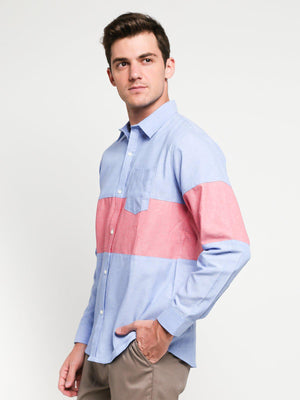 Jackhammer Oxford Panel Shirt Blue - MORE by Morello Indonesia