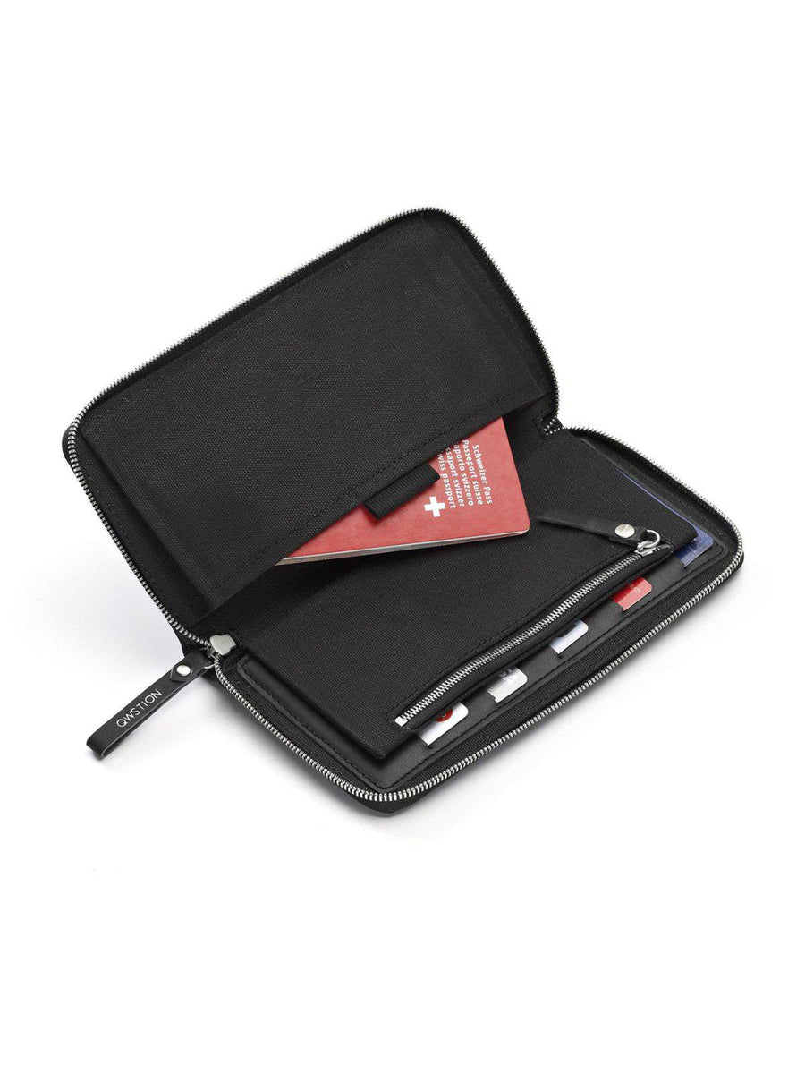 Qwstion Travel Wallet Black Leather
