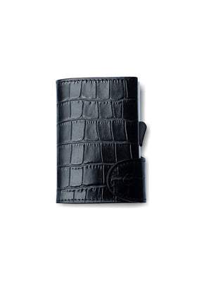 C-Secure Croco Leather RFID Wallet Black - MORE by Morello Indonesia