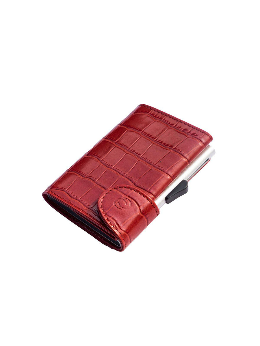C-Secure Croco Leather RFID Wallet Red - MORE by Morello - Indonesia