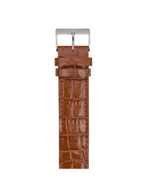 Briston Luxury Leather Strap Brown Alligator Polished Steel 20mm - MORE by Morello Indonesia