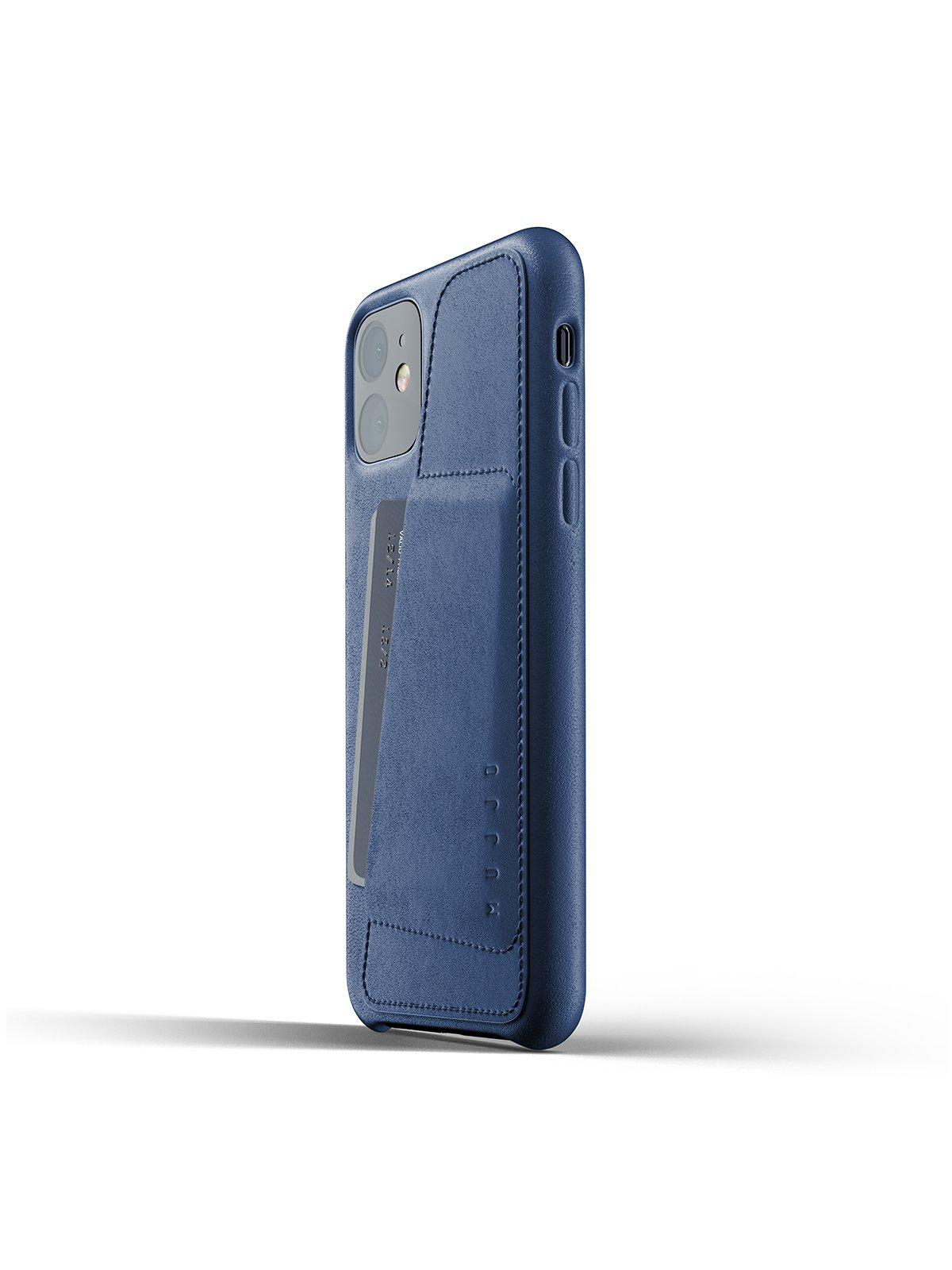 Mujjo Full Leather Wallet Case for iPhone 11 Monaco Blue - MORE by Morello Indonesia