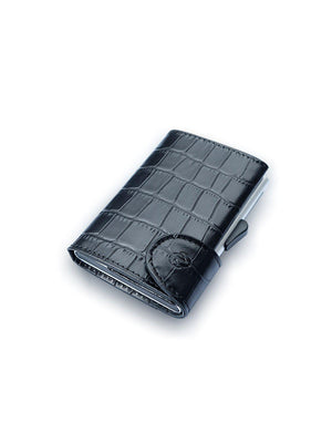 C-Secure Croco Leather RFID Wallet Black - MORE by Morello - Indonesia