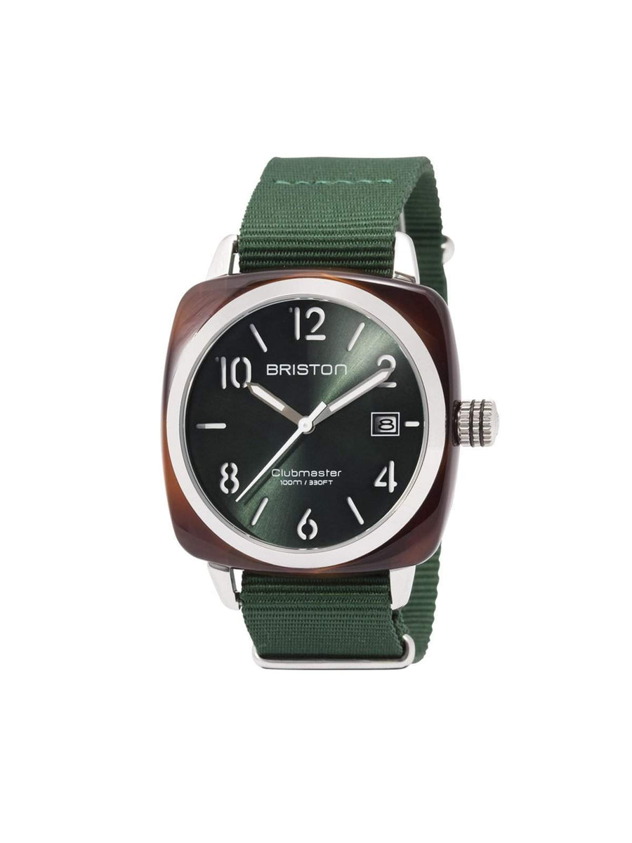 Briston Clubmaster Classic Acetate HMS Tortoise Shell Green Sunray Dial 40mm - MORE by Morello Indonesia