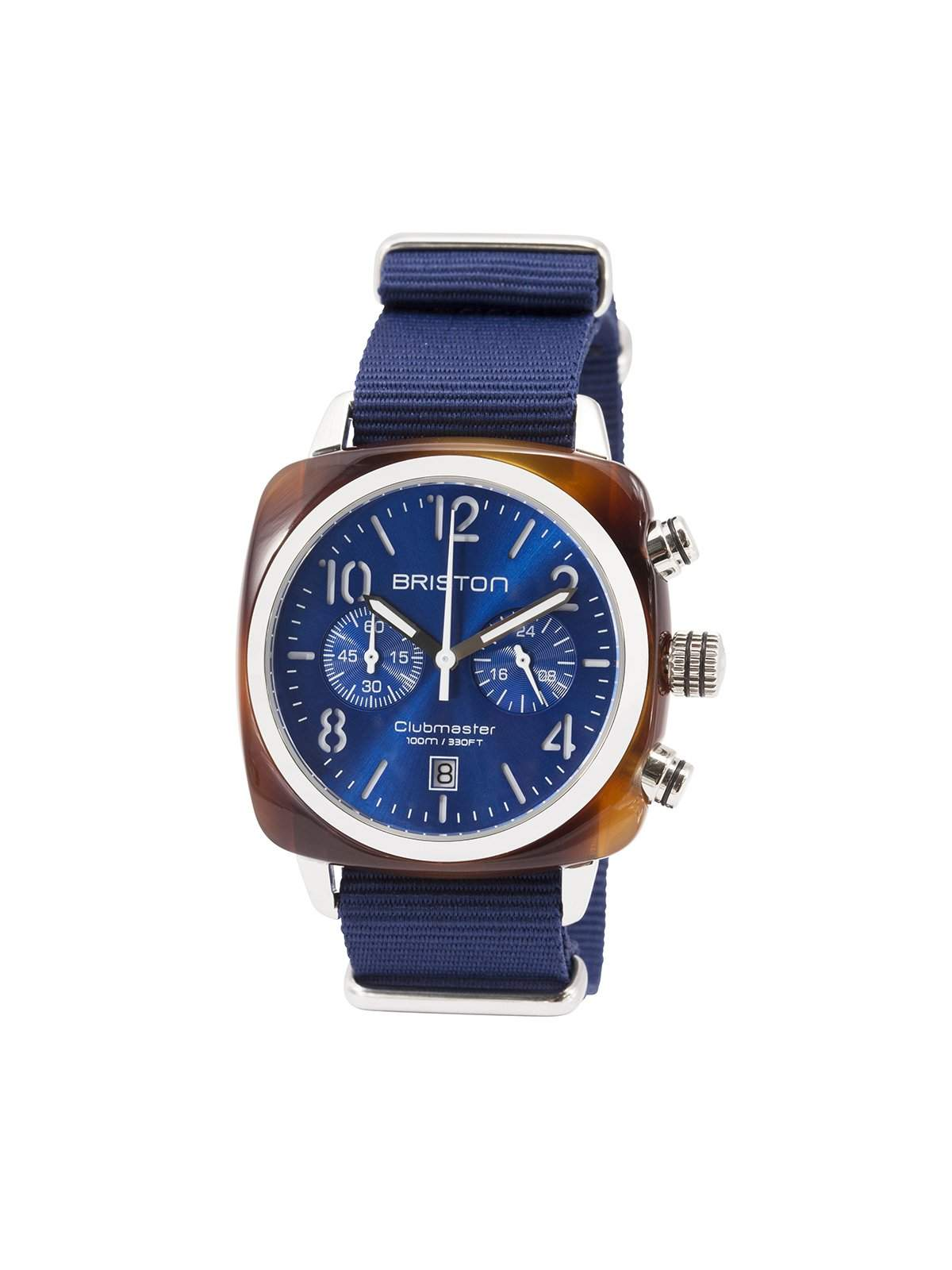 Briston Clubmaster Classic Acetate Chronograph Tortoise Shell Blue Sunray Dial 40mm - MORE by Morello Indonesia