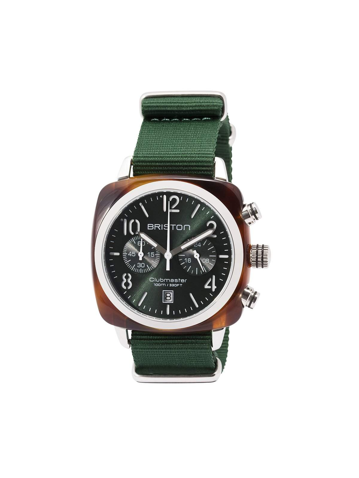 Briston Clubmaster Classic Acetate Chronograph Tortoise Shell British Green Sunray Dial 40mm - MORE by Morello Indonesia