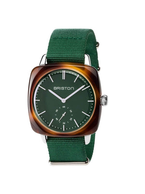Briston Clubmaster Vintage Acetate Small Second Tortoise Shell British Green Matt Dial British Green Nato Strap 40mm-Watches-Briston-MORE by Morello