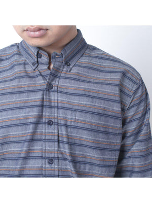 Qutn Button Down LS Steel Blue Multistripes