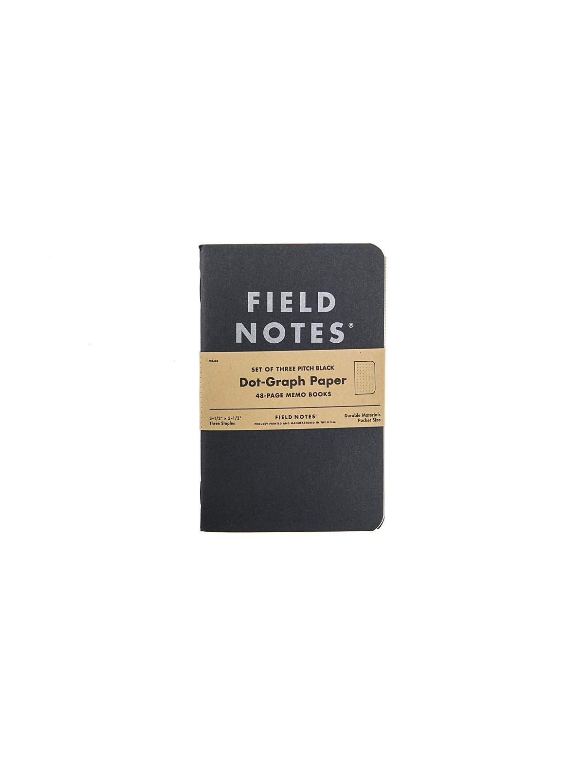 Field Notes Pitch Black Memo Book 3 Pack Dot Graph Paper - MORE by Morello Indonesia