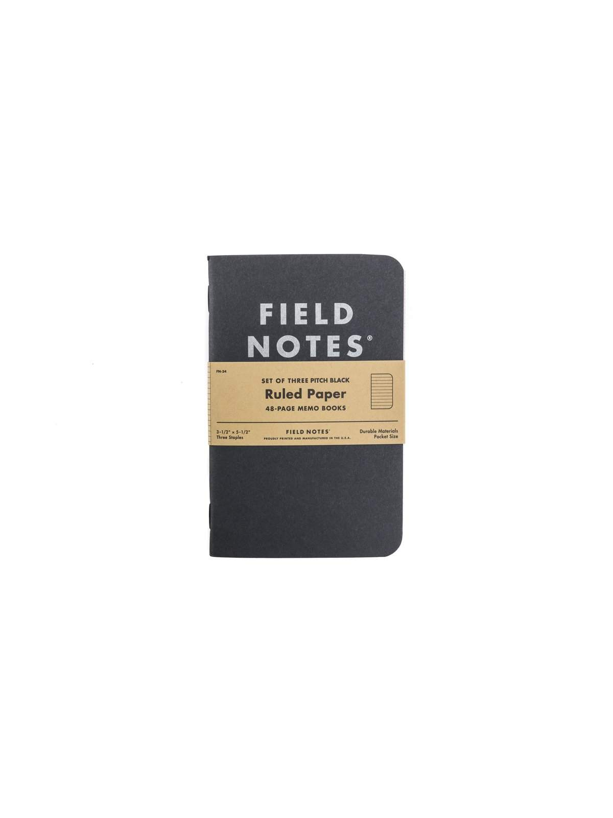 Field Notes Pitch Black Memo Book 3 Pack Ruled Paper - MORE by Morello Indonesia