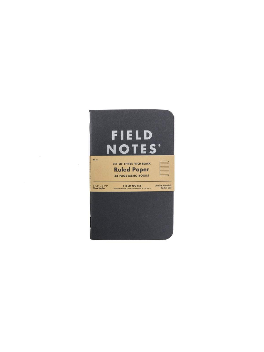 Field Notes Pitch Black Memo Book 3 Packs Ruled Paper - MORE by Morello - Indonesia