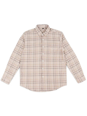 Jackhammer Hillbilly Plaid Shirt Brown Cream - MORE by Morello - Indonesia