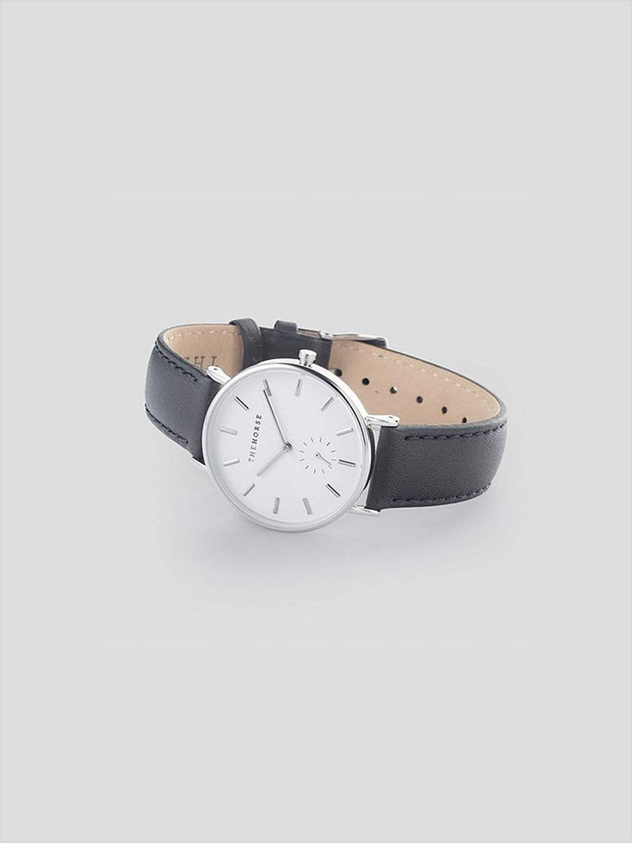 The Horse Classic Silver Black Leather Watch - MORE by Morello - Indonesia