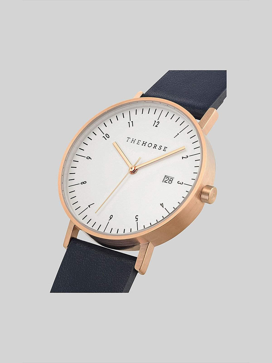 The Horse D-Series Brushed Rose Gold Navy Leather Watch-Watches-The Horse-MORE by Morello
