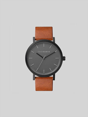 The Horse Matte Black / Tan Leather Watch - MORE by Morello - Indonesia