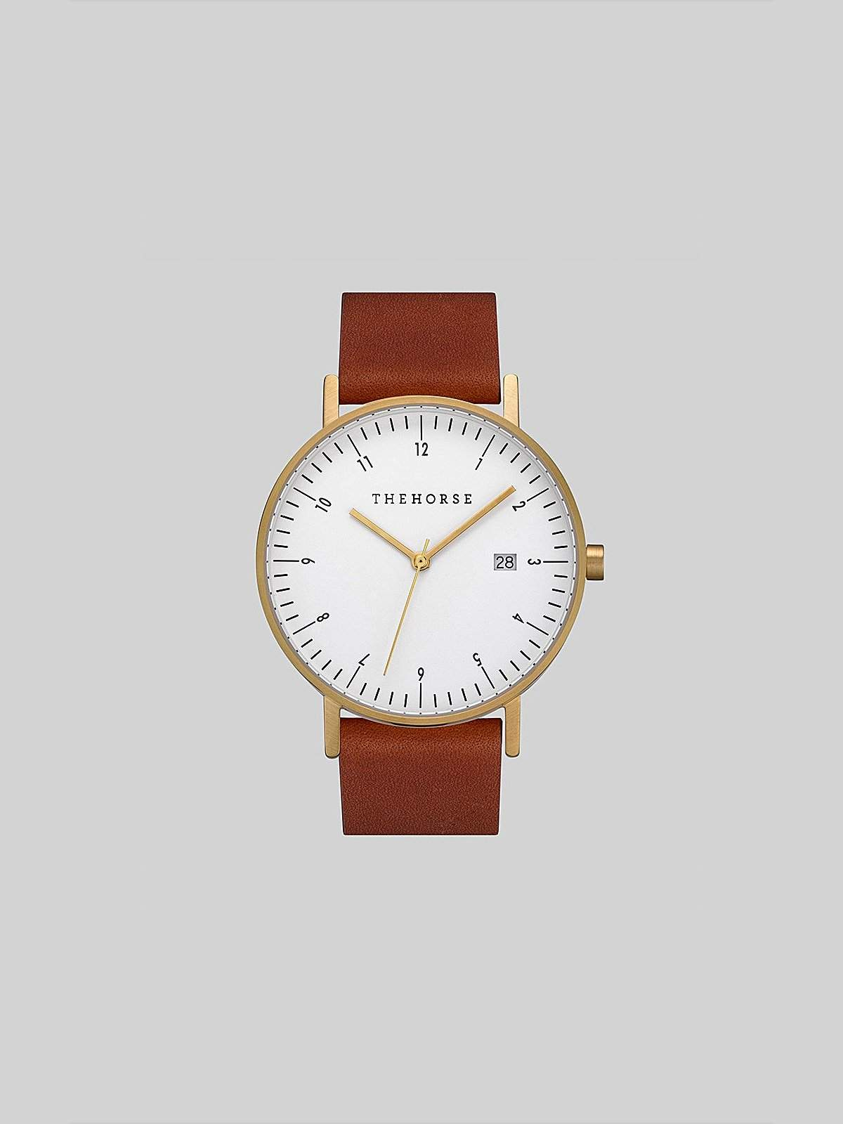 The Horse D-Series Brushed Gold Tan Leather Watch - MORE by Morello Indonesia