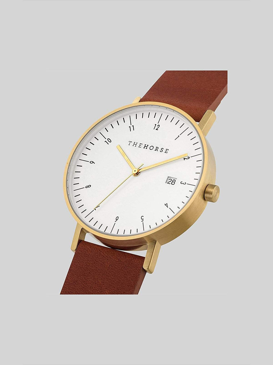 The Horse D-Series Brushed Gold Tan Leather Watch - MORE by Morello - Indonesia