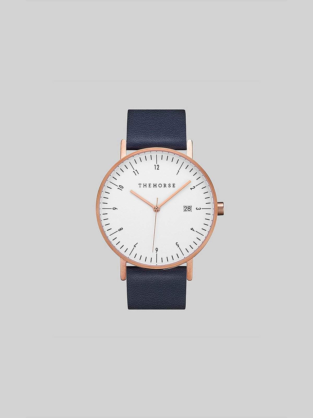 The Horse D-Series Brushed Rose Gold Navy Leather Watch - MORE by Morello Indonesia
