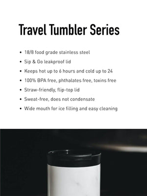 24Bottles Travel Tumbler Tuxedo Black 600ml