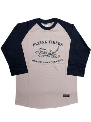 US Comp4any Flying Tiger Raglan Coffee Navy-Tees-US Comp4ny-MORE by Morello