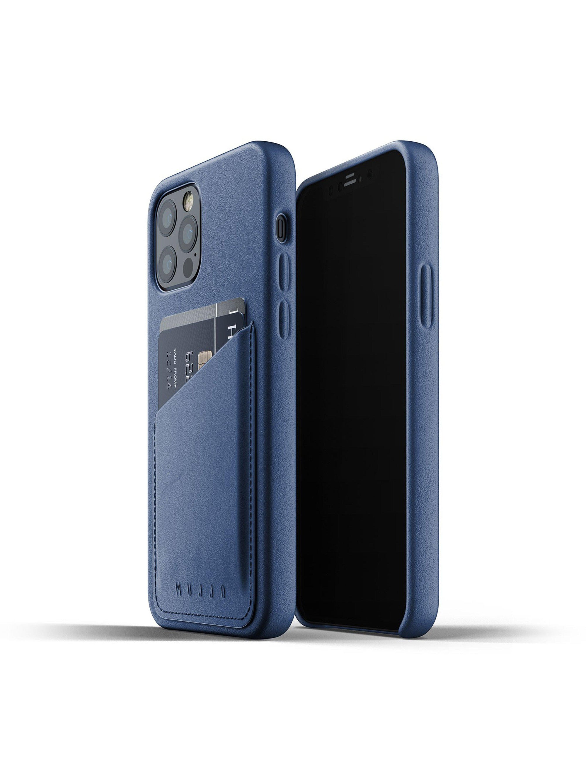 Mujjo Full Leather Wallet Case for iPhone 12 & 12 Pro Monaco Blue