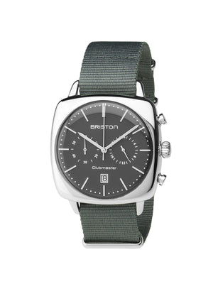 Briston Clubmaster Vintage Steel Chronograph Grey Matt Dial Grey Nato Strap 40mm - MORE by Morello Indonesia