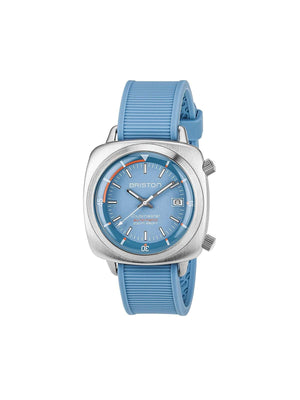 Briston Clubmaster Diver Brushed Steel Automatic HMS LIght Blue Dial 42mm
