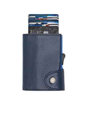 C-Secure XL Italian Leather Wallet RFID Cobalto Blue