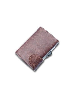 C-Secure Italian Leather RFID Wallet Brown - MORE by Morello - Indonesia