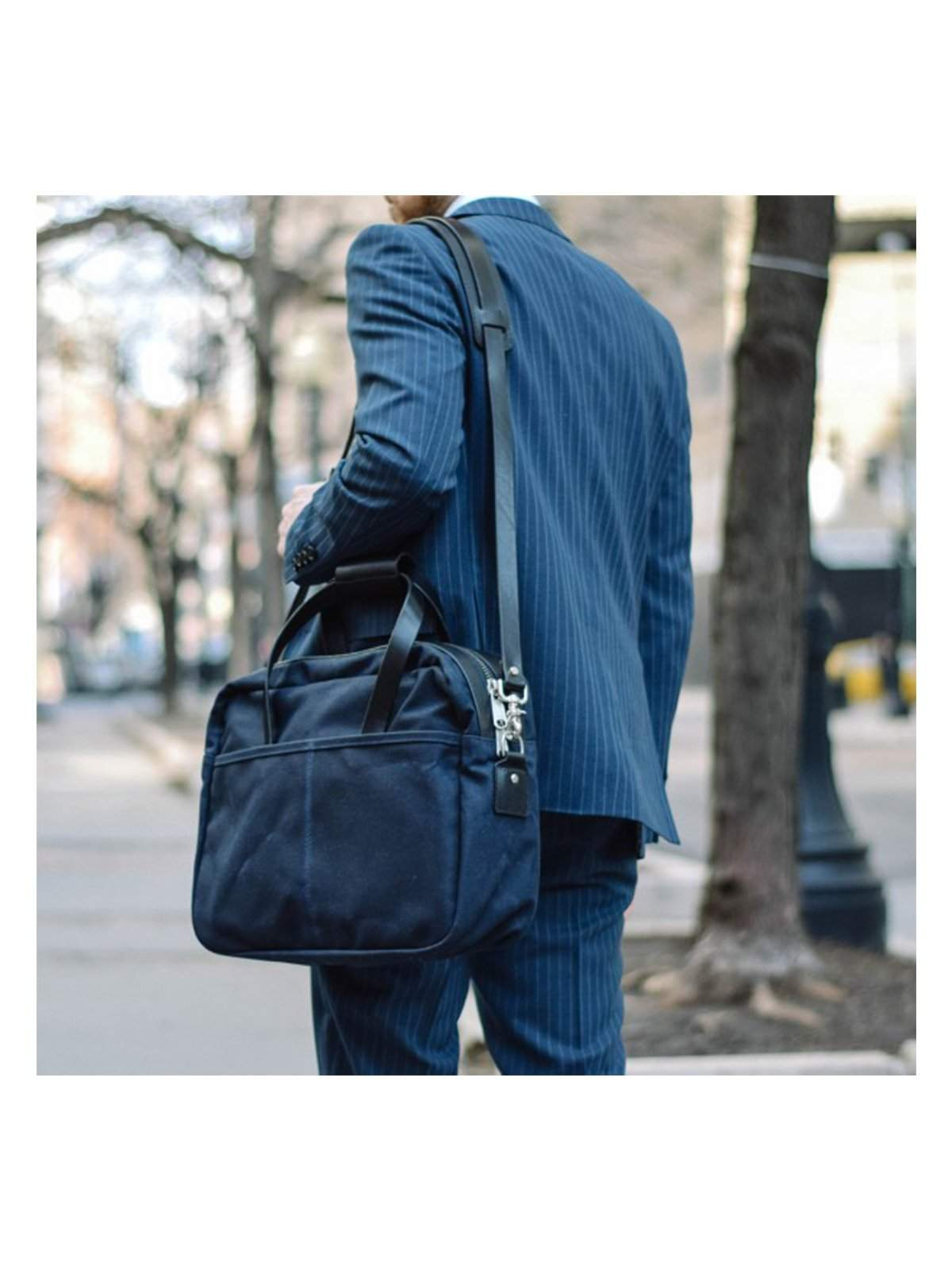 Oakstreet Bootmakers Indigo Waxed Canvas Utility Briefcase - MORE by Morello Indonesia