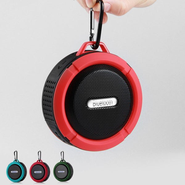 Waterproof Outdoor Wireless Speaker Hands-Free with Mic & Suction Cup & Hook Portable